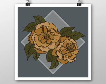Golden Blooms Illustration