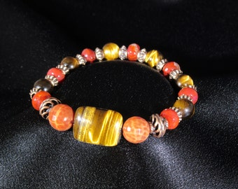 Strength and Courage Natural Gemstone Bracelet with Tiger's Eye and Fire Agate