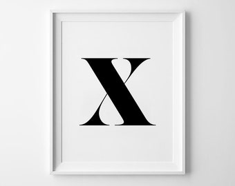 X Letter Print, Alphabet Prints, Capital Letter, Typography Wall Art, Black and White, Scandinavian House, Minimalist Style