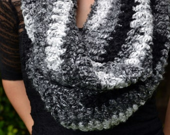 Infinity scarf, cowl, winter cowl, crochet cowl, crochet scarf, winter scarf, loop scarf, infinity scarves, womens cowl, shades of grey