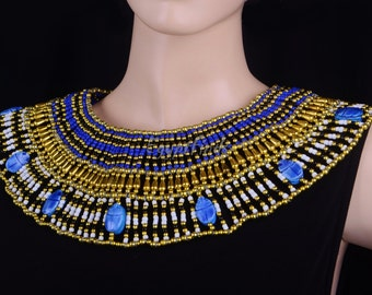 Charming Egyptian Beaded Cleopatra 9 Scarabs Necklace Collar