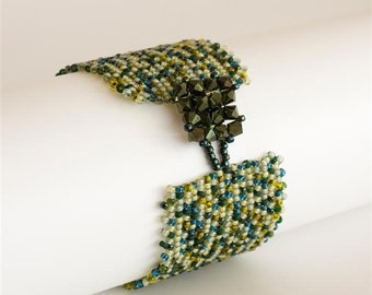 Beaded Bracelet in Shades of Greens and Blue with Sparkling Dark Green Crystal Square Button Clasp. Beadwoven Wide Cuff Bracelet. S102