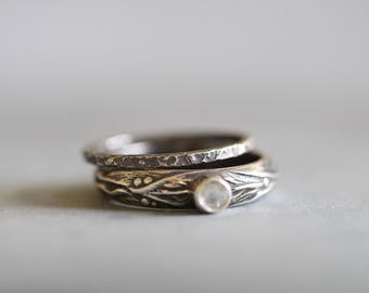 ANNA: Sterling Silver Wedding Band, Thin, Delicate, Hammered, Textured, Stacking Ring, Modern, Minimal, Mossy Creek