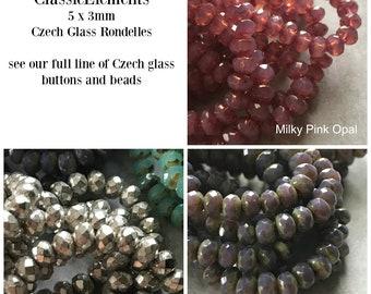 Czech Glass Rondelle, 5 x 3mm rondelle, Czech glass beads, Czech glass spacers, Czech Glass, Rondelles,