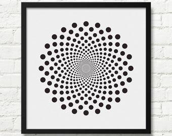 Black And White Op Art, Optical illusion Art, Black And White Print, Designer Poster, Optical Art, Bedroom Art , Contemporary Art