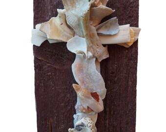 Old barn wood and seashells Cross, unique wedding gift, gift for him, religious wall art, seashell Cross for beach wedding