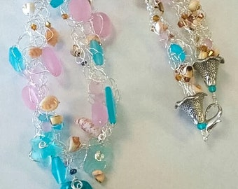 Beach Glass Necklace Wire Crochet shells Lampwork Jellyfish Beach Wedding Summer Jewelry