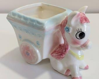Vintage Baby Donkey with Cart Planter Vase pink Japan