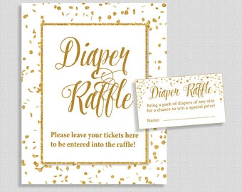 Gold Diaper Raffle Tickets & Sign, White and Gold Glitter Confetti Gender Neutral, Invite Insert, DIY Printable, INSTANT DOWNLOAD