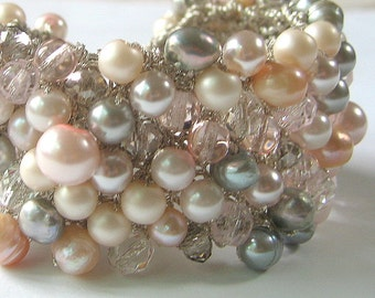 Silver Grey, Rosaline, ROSEY PEACH CHIFFON, Freshwater, Swarovski,  Pearl Crystal Wide Hand Knit Wedding Statement Cuff, Sereba Designs