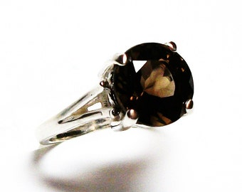 "Smokey quartz, smokey quartz ring,  solitaire ring, brown ring,brown,  s 6 3/4  ""Cocoa Brown"""
