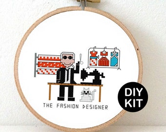 Cross Stitch Kit Fashion Designer. Gift for fashionista. Modern cross stitch kit including embroidery hoop