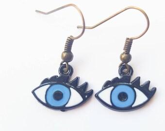 Evil eye enamel drop earrings in blue