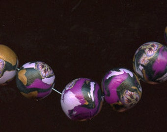 Lot of 6  Handmade Abstract Beads drilled  16mm WAB 7