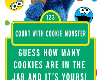 "Sesame Street Cookie Monster ""Guess how many cookies"" sign"