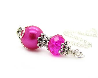 Hot Pink Bridesmaid Necklace, Bright Pink Wedding Jewellery, Magenta Wedding Sets, Fuschia Bridesmaids, Pearl Bridal Sets, Bridal Party Gift