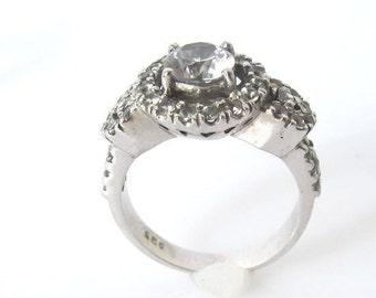 White sapphires handmade silver engagement ring, anniversary ring, gift for here handmade jewelry