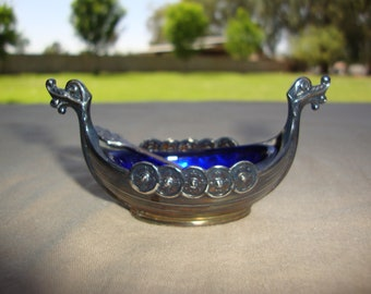Sterling Silver 925 S Norway Viking Ship Salt Cellar With Spoon And Cobalt Blue Glass Insert Unpolished