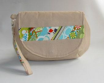 Handbag, Clutch Purse, Wristlet Bag, Makeup Bag, Cosmetic Bag, Women Handbag, Fabric Clutch, Wristlet Wallet, Beige, Clearance