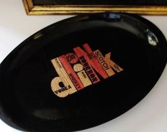 Couroc Drink Tray, Vintage Bar Tray, Barware, Retro Barware, Martini Tray, Vintage Typography