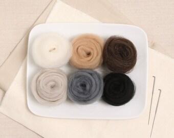 Wool Roving  // Neutral Colors // Corriedale Roving, Animal Needle Felting, Wet Felting, Wool Sliver, Weaving Supplies, All Purpose Roving