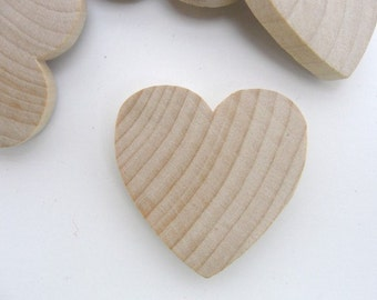 """50 Wooden hearts 1 1/2 inch (1.5"""") wide 1/4 inch thick unfinished wood hearts diy"""