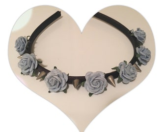 Baby blue rose spiked headband