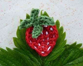 Red Strawberry - handmade cotton crochet application
