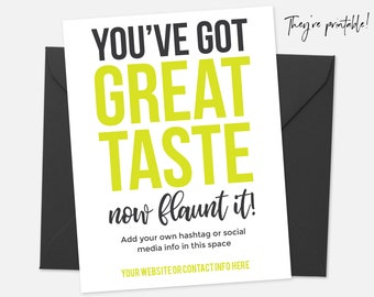 Thank You Card Printable, Thank You Card Template, Great Taste, Package Insert, Business Thank You Cards, Editable Thank You Note -  Yellow