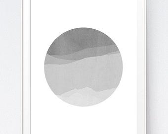 Modern Wall Art, Mountain Minimalist Print, Black and White Wall Art, Circle Print, Mountains Wall Art, Grey Wall Art, INSTANT DOWNLOAD