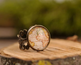 Filigree vintage map ring, adjustable ring, statement ring, antique brass ring, glass dome ring, antique bronze ring, jewelry gift for her