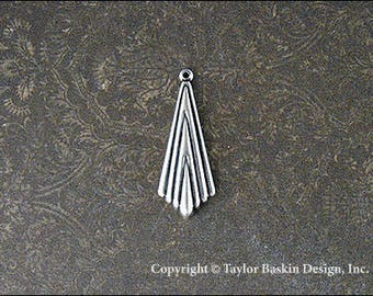 Antiqued Sterling Silver Plated Art Deco Jewelry Earring or Pendant Jewelry Drop (item 1146 AS) - 6 Pieces