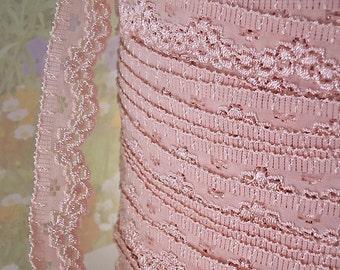 5yds Stretch Lace Trim Antique Pink Ribbon Elastic Trim 3/4 inch Diy Wedding Sewing Trim Baby Headbands, lingerie Edging  Scallop edge psxx