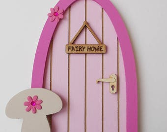 Wooden Fairy Door Pink with Toadstool & Fairy Home Door Sign