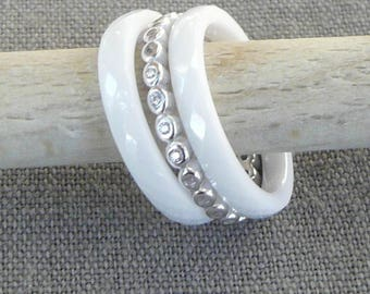 "Silver and ceramic ""Trio"" white ring"