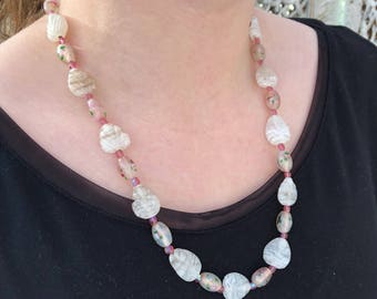 Vintage Beaded Pink & White Necklace