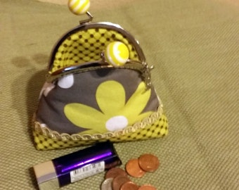 coin purse with metal kiss lock push frame and over sized bubble gum striped yellow balls, charm, gray, flowers, trim, unique