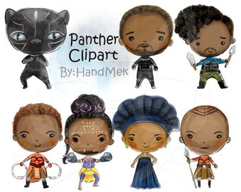 Wakanda inspired characters clipart instant Download PNG file - 300 dpi.