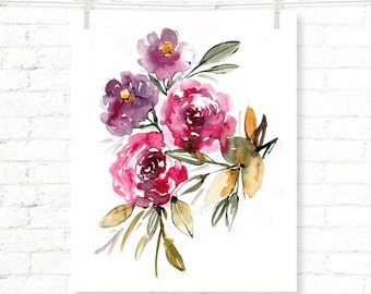 Roses - Rose Bouquet - Flower - Floral - Watercolor - Art Print