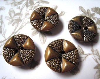 Four Vintage Gold Colored Metal Buttons