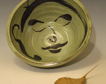 Big Green Buddha Face Serving Bowl in Raku Ceramics