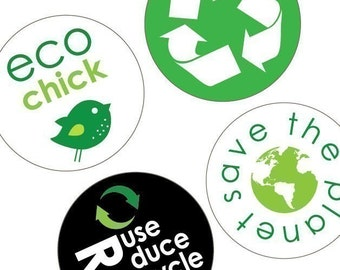 Eco Chic Environmentally Friendly -1.313 Inch (33mm) Digital Collage Printable Sheet -Badges and Buttons -Instant Download -Buy 2 Get 1 Free