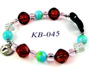 KB-045 Turquoise and garnet red acrylic bead Kitty Cat Bling Beaded Collar complete with breakaway buckle bell and tag ring