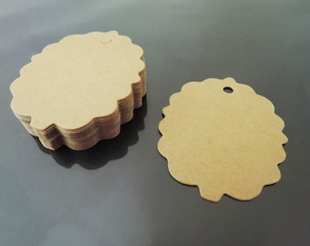 Paper Tags 5.5cm x 4.5cm - Kraft Clothing Tags Scalloped Tree Round Tag Price Tags Hang Tags Gift Tags Brown Tag Plain Tags with Hole