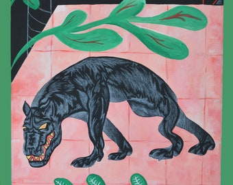 Fauvism Black Panther Foliage Acrylic Painting Fine Art Print