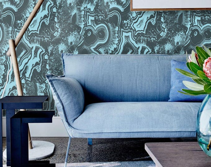 Big Light Blue Malachite Wallpaper,  Marble Effect Wallpaper