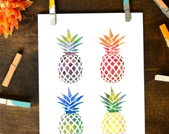 Watercolor Pineapple 8x10 Printable || Instant Download
