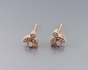 2 small shiny rose gold plated leaf earrings, Cubic Zirconia leaf earrings, rose gold leaf earrings 1733-BRG