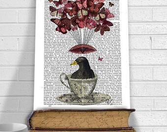 Blackbird In teacup - blackbird print blackbird designs bird art bird decor hot air balloon funny animal woodland décor Nursery art poster