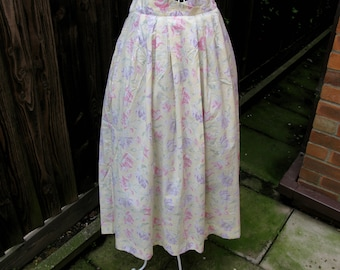 Laura Ashley Skirt, Vintage Laura Ashley, Vintage Skirt, 1980s Fashion, UK Size 16, US Size 14, Floral Skirt, Lemon Skirt, Full Skirt